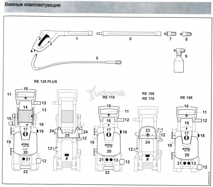 Корпус насоса клапанный блок для минимойки stihl re 118 re 128 схема